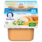 Gerber - 2nd - 2 pack 3.5oz each - Turkey & Rice Dinner